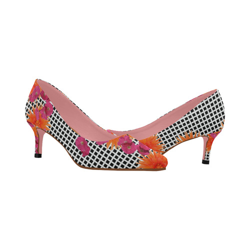 fce019814c50 ... Womens Low Heel Shoes Pumps Pointed Toe Shoes Black White Check Pink  Orange Flowers Women s Pointed ...