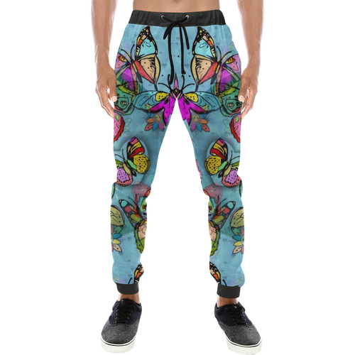 Butterfly Popart by Nico Bielow Men's All Over Print Sweatpants (Model L11)