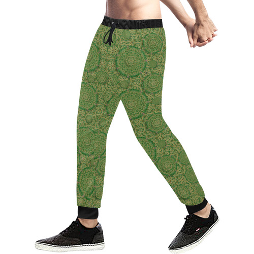 Stars in the wooden forest night in green Men's All Over Print Sweatpants (Model L11)