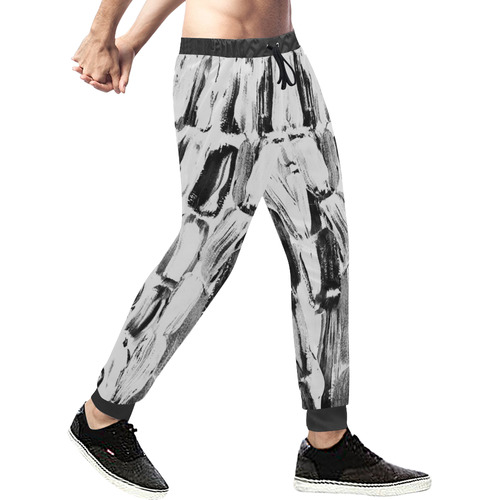 Black and White Sugarcane Men's All Over Print Sweatpants (Model L11)