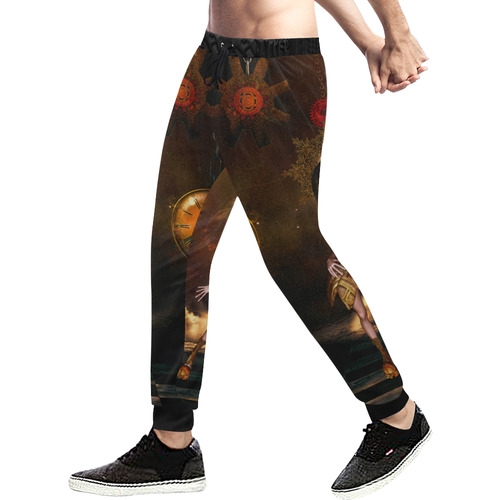 Sweet steampunk girl on the beach Men's All Over Print Sweatpants (Model L11)
