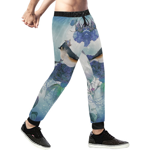 Cute birds with blue flowers Men's All Over Print Sweatpants (Model L11)
