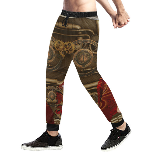 Steampunk, awesome steam lady Men's All Over Print Sweatpants (Model L11)