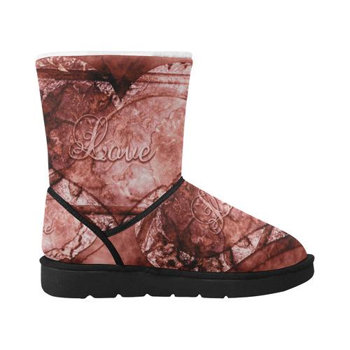 Heart Boots Unisex Single Button Snow Boots (Model 051)
