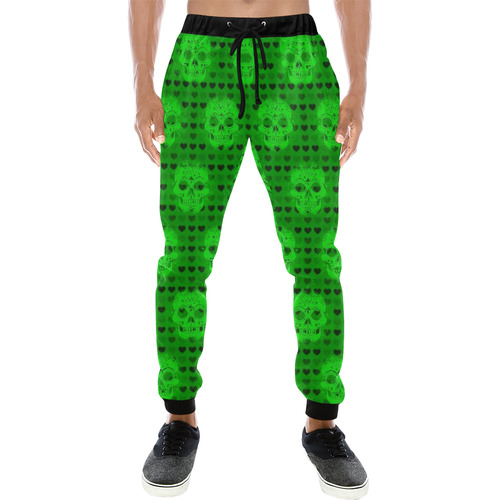skulls and hearts, green by JamColors Men's All Over Print Sweatpants (Model L11)