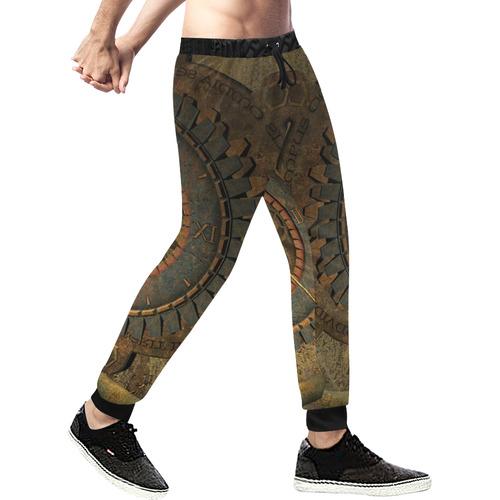 Steampunk, clockwork Men's All Over Print Sweatpants (Model L11)