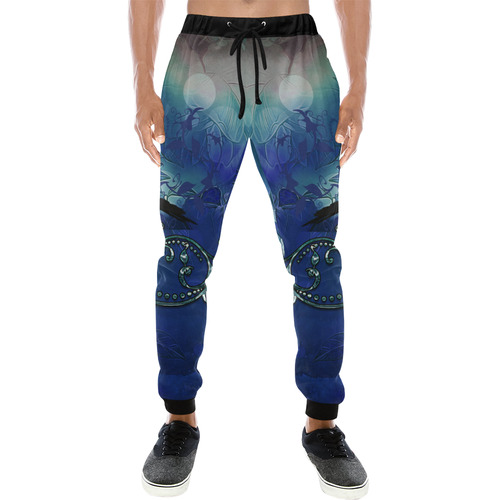 The crow with wonderful  flowers Men's All Over Print Sweatpants (Model L11)
