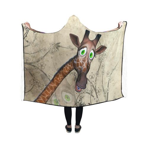 Funny, happy giraffe Hooded Blanket 50''x40''