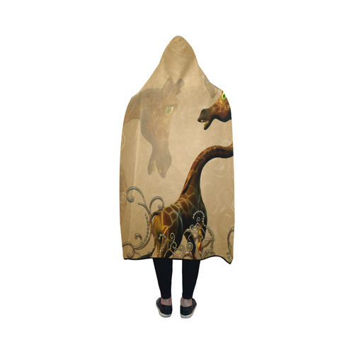 Little frightened giraffe Hooded Blanket 50''x40''