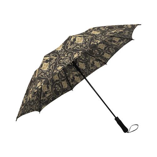 a9279f8f8a2fa Black Gold Damask Semi-Automatic Foldable Umbrella (Model U05)   ID ...