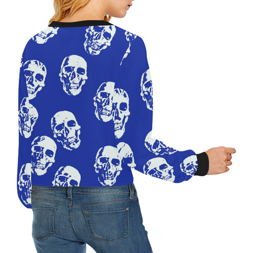 Hot Skulls,white by JamColors Crop Pullover Sweatshirts for Women (Model H20)