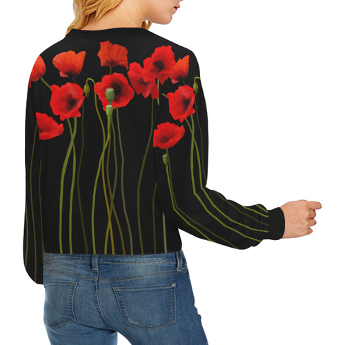 Poppies Floral Design Papaver somniferum Crop Pullover Sweatshirts for Women (Model H20)