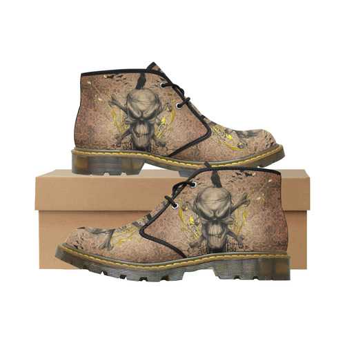 The scary skull with crow Men's Nubuck Chukka Boots (Model 2402)