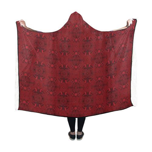 Wall Flower in Aurora Red Drama by Aleta Hooded Blanket 60''x50''