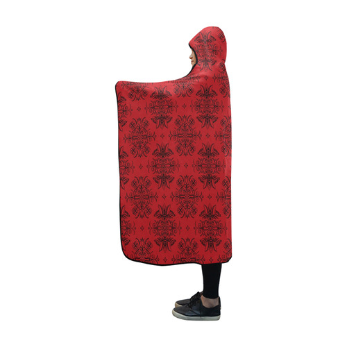 Wall Flower in Aurora Red by Aleta Hooded Blanket 60''x50''