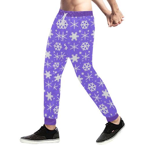 Snowflakes Lavender Men's All Over Print Sweatpants (Model L11)