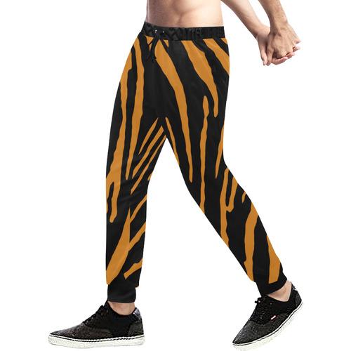 Tiger Stripes Men's All Over Print Sweatpants (Model L11)