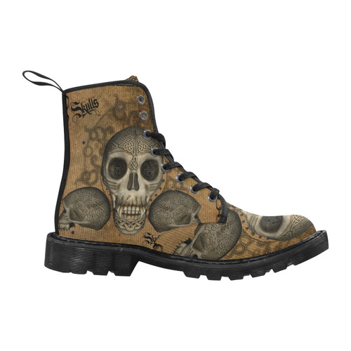 Awesome skull with celtic knot Martin Boots for Women (Black) (Model 1203H)