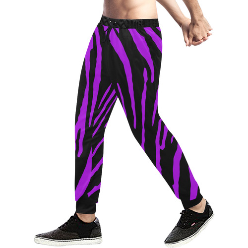 Purple Tiger Stripes Men's All Over Print Sweatpants (Model L11)
