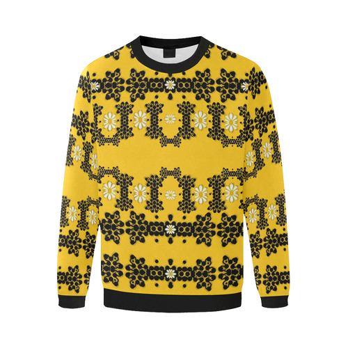 Ornate circulate is festive in flower decorative Men's Oversized Fleece Crew Sweatshirt (Model H18)