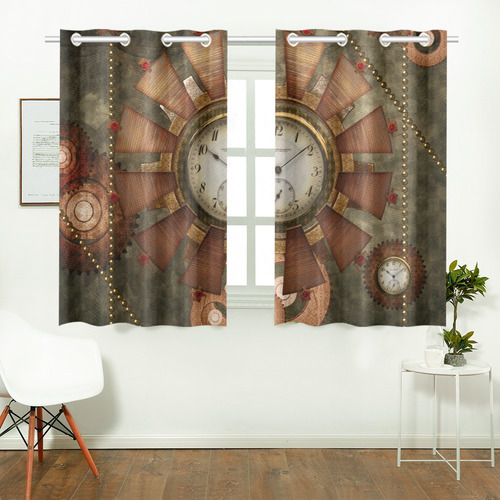 Steampunk, wonderful clocks in noble design Kitchen Curtain 26'' X 39''(2 Pieces, 1 Design)