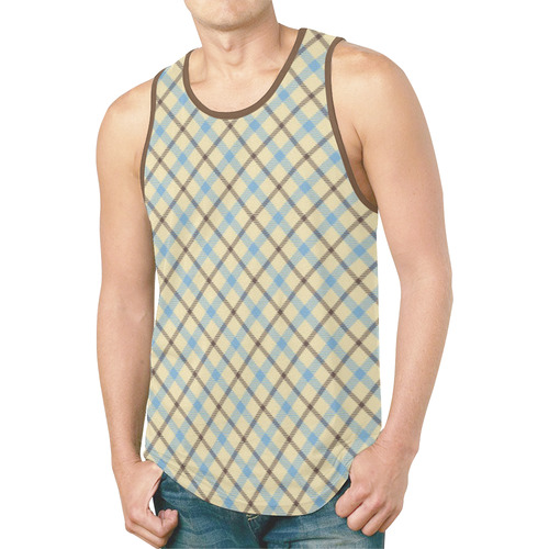 Plaid 2 plain tartan New All Over Print Tank Top for Men (Model T46)