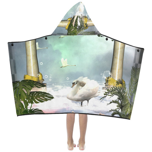 Beautiful swan Kids' Hooded Bath Towels