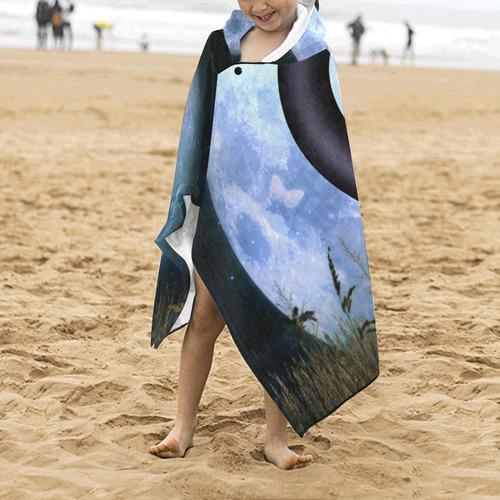 Wonderful fairy on the moon Kids' Hooded Bath Towels