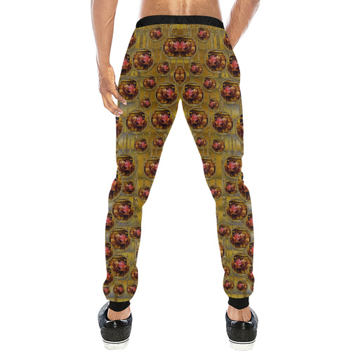 Angels in gold and flowers of paradise rocks Men's All Over Print Sweatpants (Model L11)