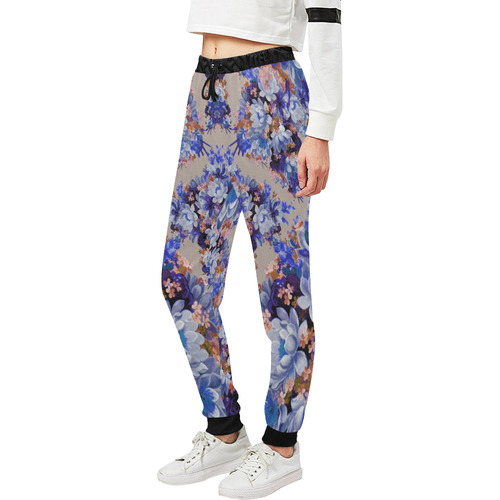 Blue And Tangerine Floral Unisex All Over Print Sweatpants (Model L11)