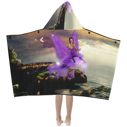 Wonderful fairy with bird Kids' Hooded Bath Towels