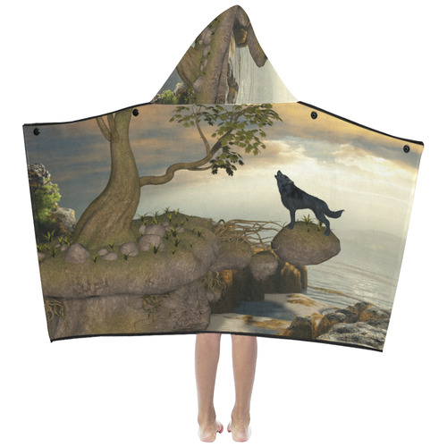 The lonely wolf on a flying rock Kids' Hooded Bath Towels