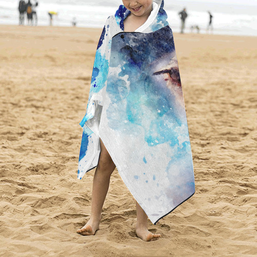 Watercolor, owl in the unoverse Kids' Hooded Bath Towels