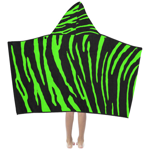 Green Tiger Stripes Kids' Hooded Bath Towels