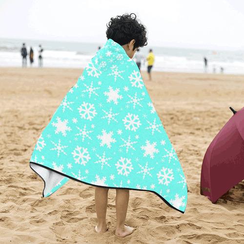 Snowflakes Mint Kids' Hooded Bath Towels