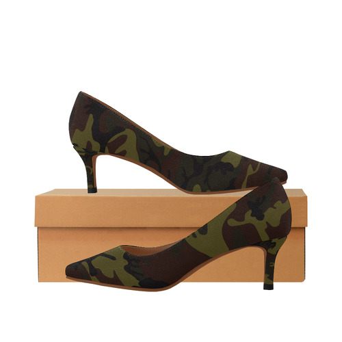 306779192cb2e Camo Green Brown Women's Pointed Toe Low Heel Pumps (Model 053) | ID:  D2253158