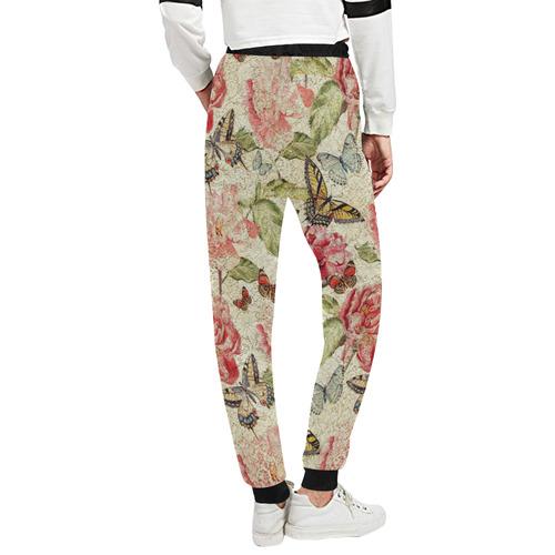 Watercolor Vintage Flowers Butterflies Lace 1 Unisex All Over Print Sweatpants (Model L11)