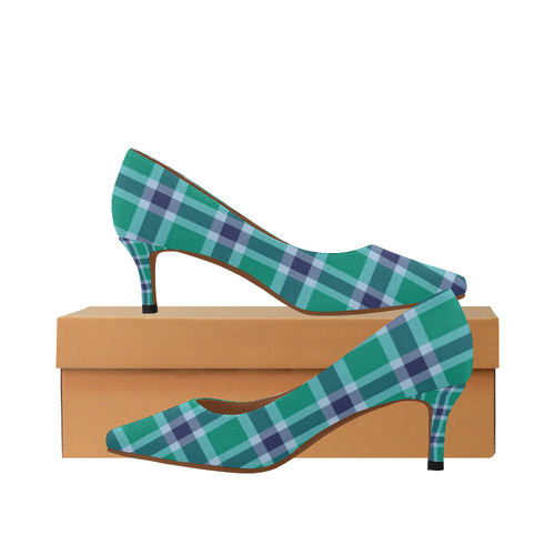 e735bdbd0b0 Green Blue White Plaid Women s Pointed Toe Low Heel Pumps (Model 053 ...