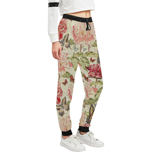 Watercolor Vintage Flowers Butterflies Lace 1 Women's All Over Print Sweatpants (Model L11)