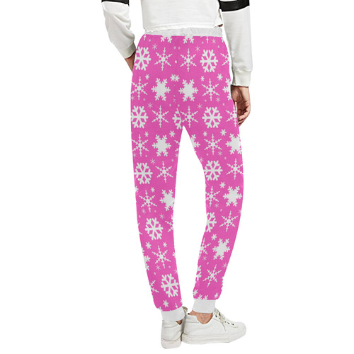 Snowflakes Pink Unisex All Over Print Sweatpants (Model L11)