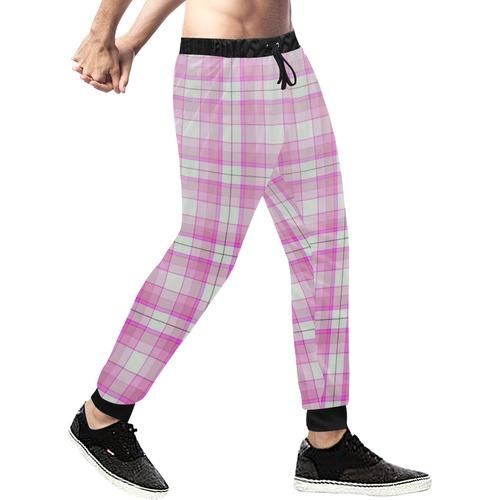 Pink Plaid Men's All Over Print Sweatpants (Model L11)