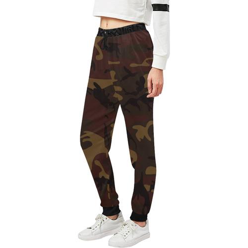 Camo Dark Brown Unisex All Over Print Sweatpants (Model L11)