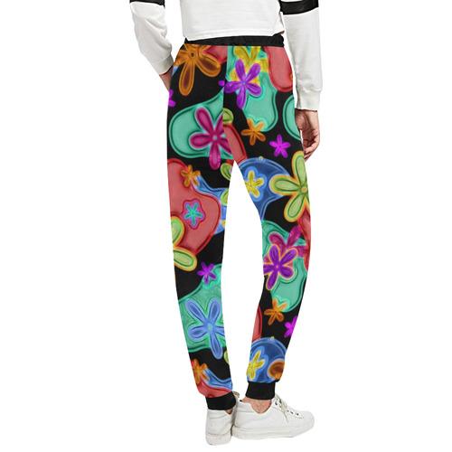 Colorful Retro Flowers Fractalius Pattern Unisex All Over Print Sweatpants (Model L11)