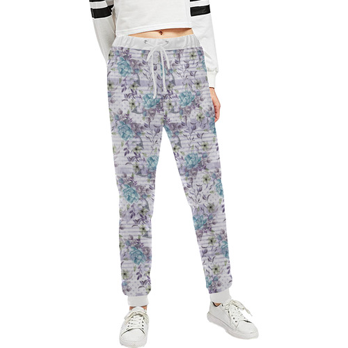 Watercolor Vintage Roses Ribbon Pattern 02 Women's All Over Print Sweatpants (Model L11)