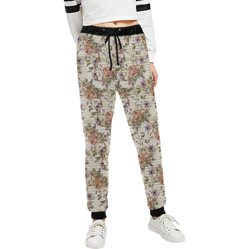 Watercolor Vintage Roses Ribbon Pattern 03 Women's All Over Print Sweatpants (Model L11)