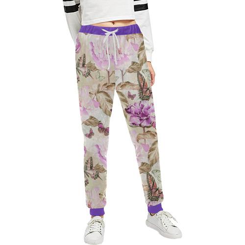 Watercolor Butterflies Flowers Wallpaper 02 Unisex All Over Print Sweatpants (Model L11)