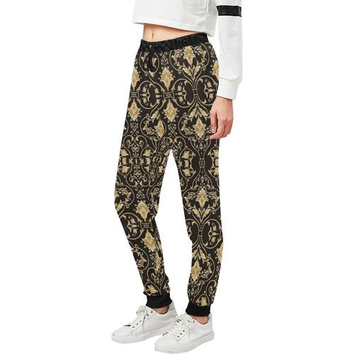 Black Gold Damask Women's All Over Print Sweatpants (Model L11)