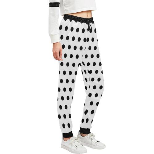 Black White Polka Dots Unisex All Over Print Sweatpants (Model L11)