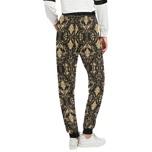 Black Gold Damask Unisex All Over Print Sweatpants (Model L11)