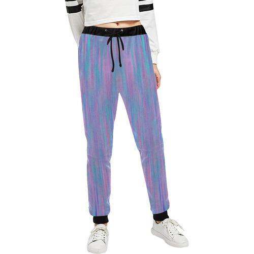 Purple Turquoise Watercolor Unisex All Over Print Sweatpants (Model L11)